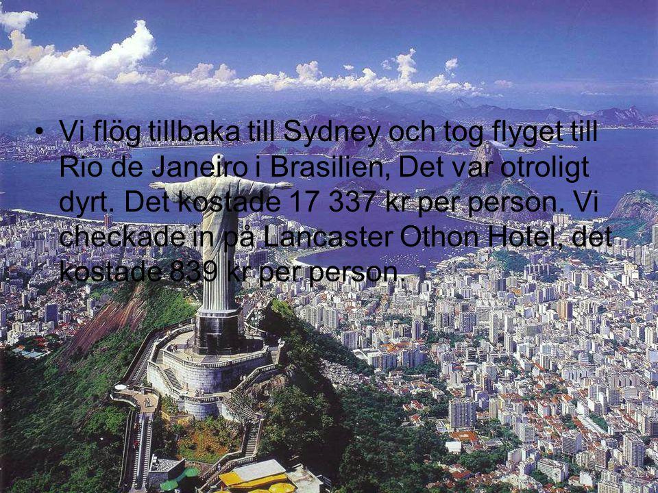 Vi flög tillbaka till Sydney och tog flyget till Rio de Janeiro i Brasilien, Det var otroligt dyrt.