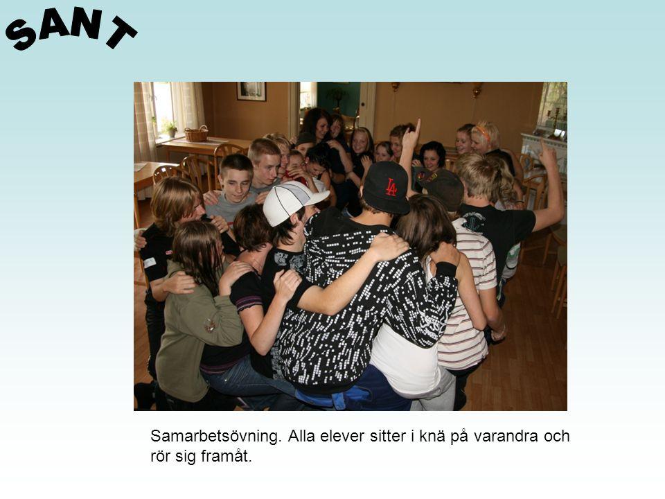 SANT Samarbetsövning. Alla elever sitter i knä på varandra och
