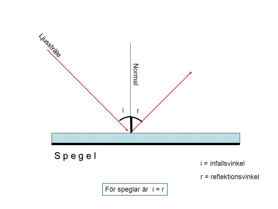 S p e g e l Ljusstråle Normal i r i = infallsvinkel