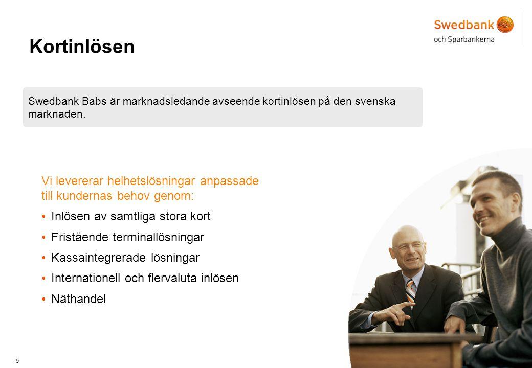 Kortinlösen Swedbank Babs är marknadsledande avseende kortinlösen på den svenska marknaden.