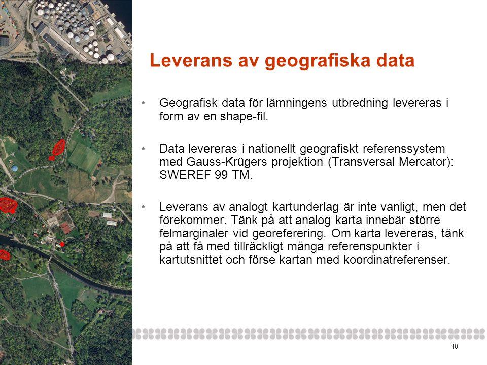 Leverans av geografiska data