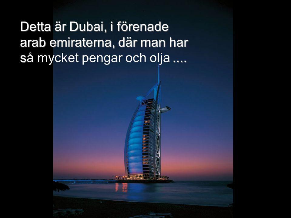 Detta är Dubai, i förenade arab emiraterna, där man har så mycket pengar och olja ....