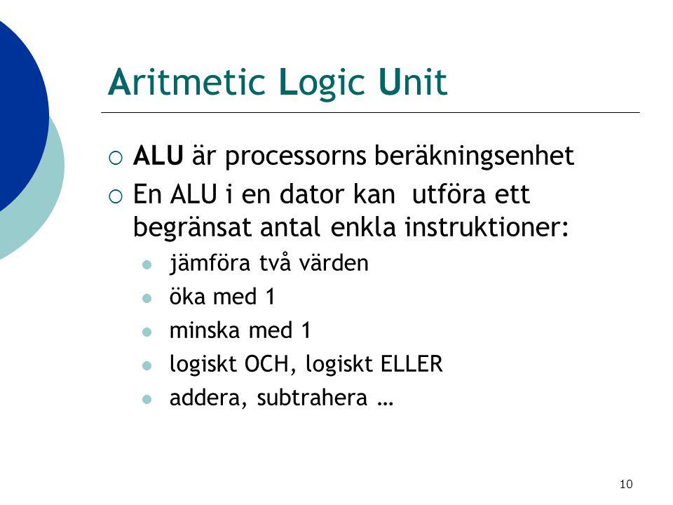 Aritmetic Logic Unit ALU är processorns beräkningsenhet