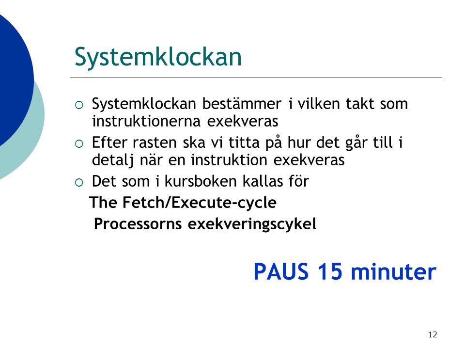 Systemklockan PAUS 15 minuter