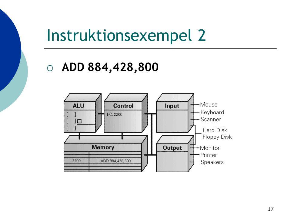 Instruktionsexempel 2 ADD 884,428,800