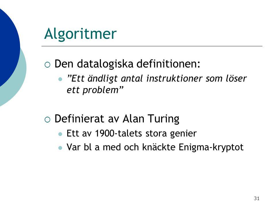 Algoritmer Den datalogiska definitionen: Definierat av Alan Turing