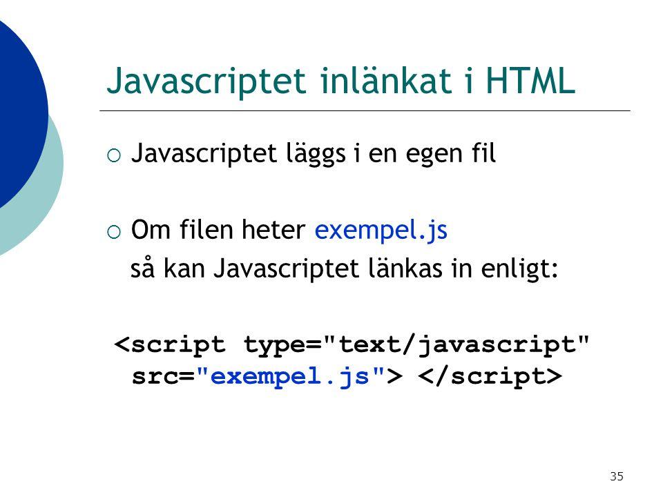 Javascriptet inlänkat i HTML