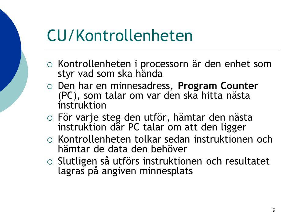 CU/Kontrollenheten Kontrollenheten i processorn är den enhet som styr vad som ska hända.