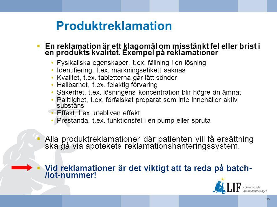 Produktreklamation En reklamation är ett klagomål om misstänkt fel eller brist i en produkts kvalitet. Exempel på reklamationer: