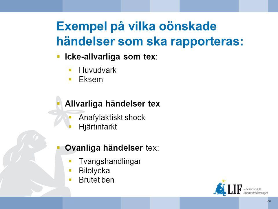 Exempel på vilka oönskade händelser som ska rapporteras: