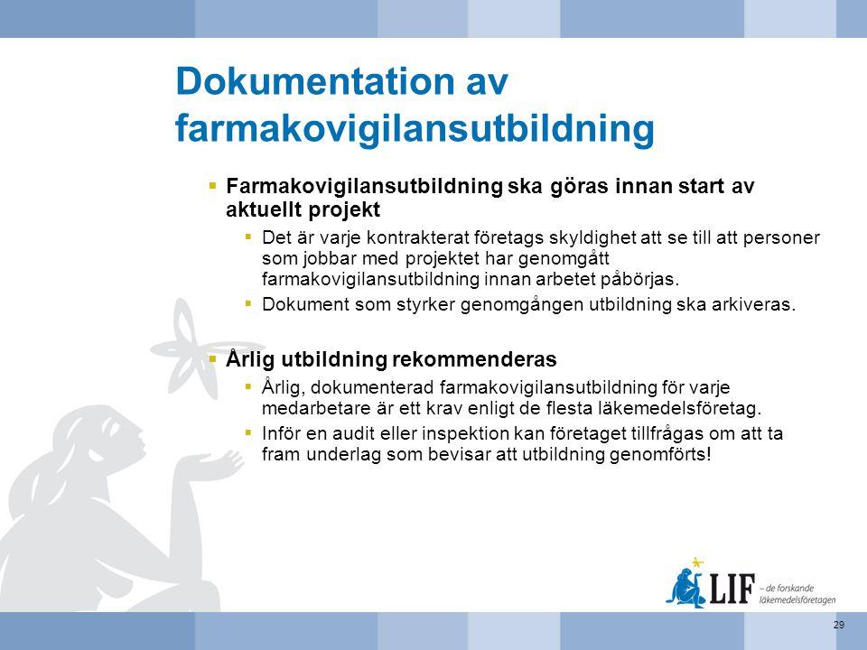 Dokumentation av farmakovigilansutbildning