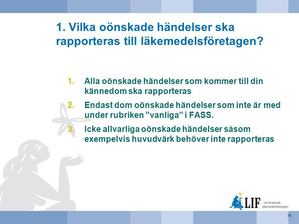 1. Vilka oönskade händelser ska rapporteras till läkemedelsföretagen