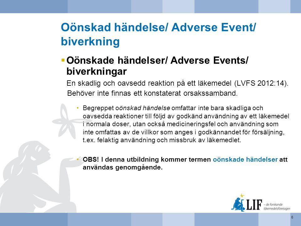 Oönskad händelse/ Adverse Event/ biverkning