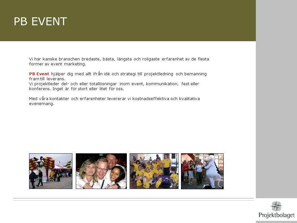 PB EVENT Vi har kanske branschen bredaste, bästa, längsta och roligaste erfarenhet av de flesta former av event marketing.