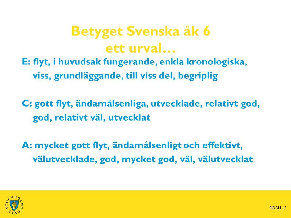 Betyget Svenska åk 6 ett urval…