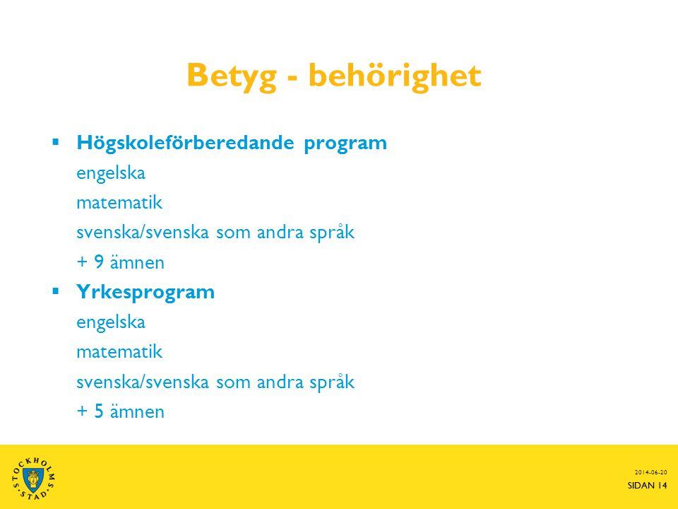 Betyg - behörighet Högskoleförberedande program engelska matematik