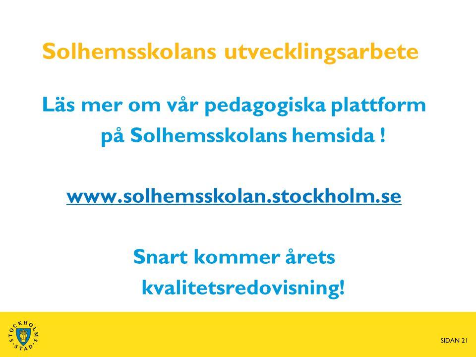Solhemsskolans utvecklingsarbete