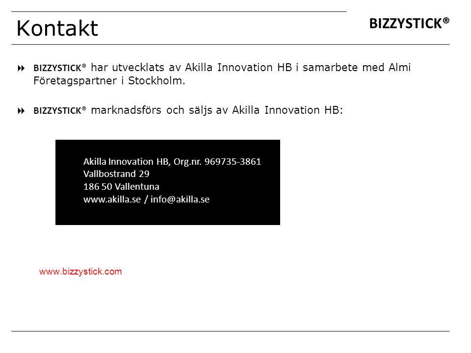 Kontakt BIZZYSTICK® BIZZYSTICK® har utvecklats av Akilla Innovation HB i samarbete med Almi Företagspartner i Stockholm.