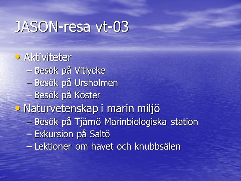 JASON-resa vt-03 Aktiviteter Naturvetenskap i marin miljö