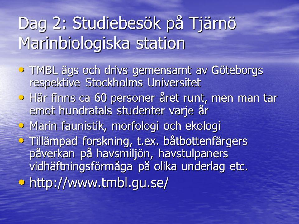 Dag 2: Studiebesök på Tjärnö Marinbiologiska station