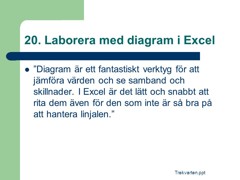 20. Laborera med diagram i Excel