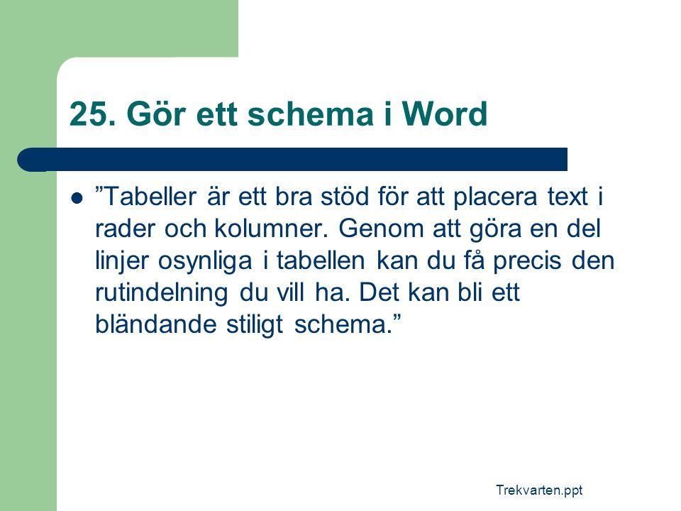 25. Gör ett schema i Word