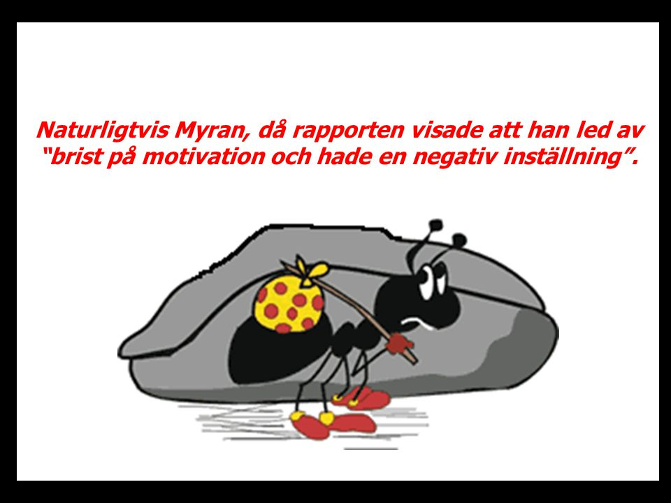 Naturligtvis Myran, då rapporten visade att han led av brist på motivation och hade en negativ inställning .