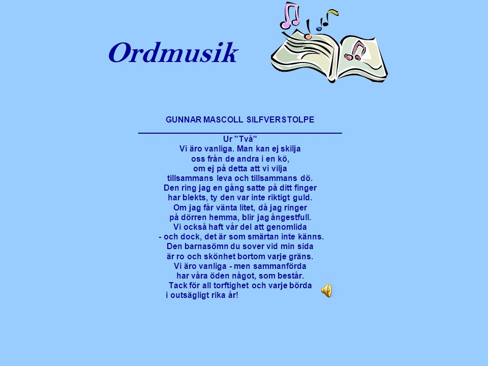Ordmusik GUNNAR MASCOLL SILFVERSTOLPE