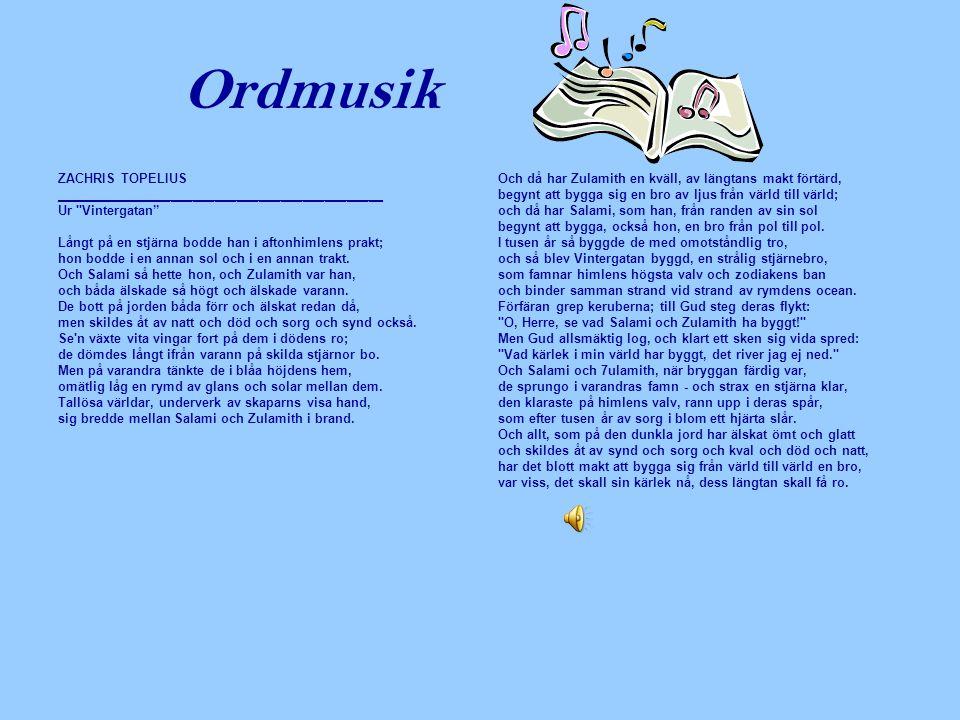Ordmusik ZACHRIS TOPELIUS