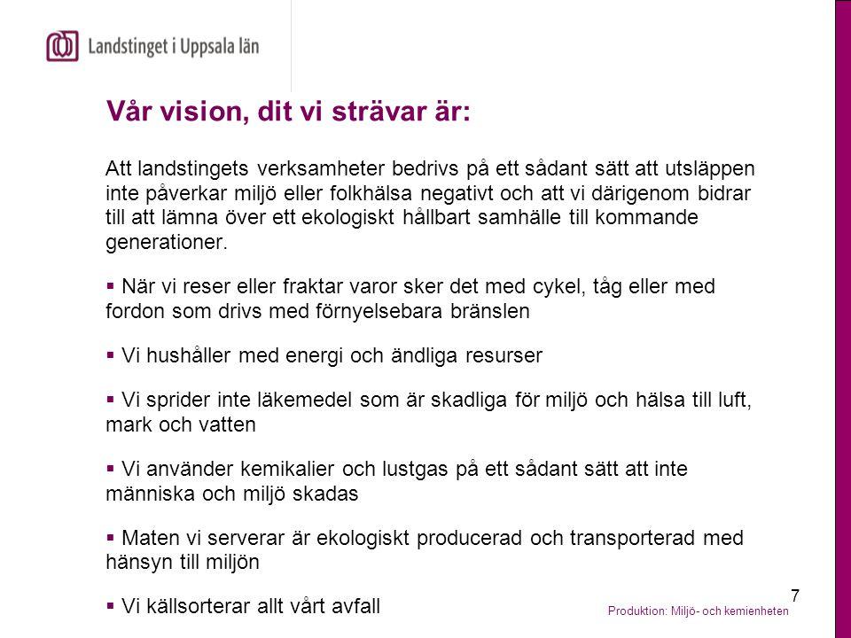 Vår vision, dit vi strävar är: