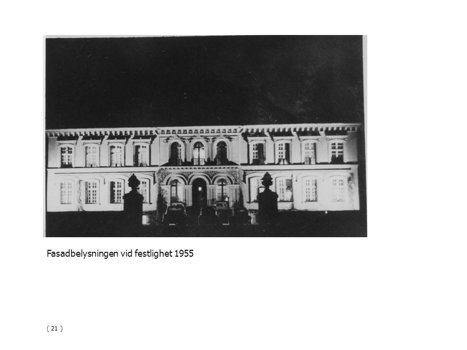 Fasadbelysningen vid festlighet 1955