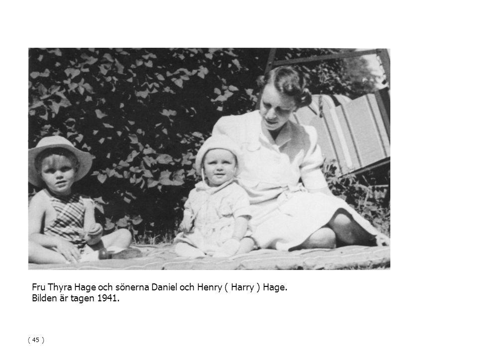 Fru Thyra Hage och sönerna Daniel och Henry ( Harry ) Hage.