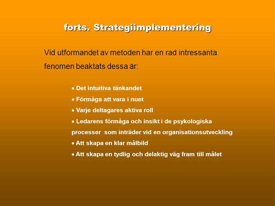 forts. Strategiimplementering