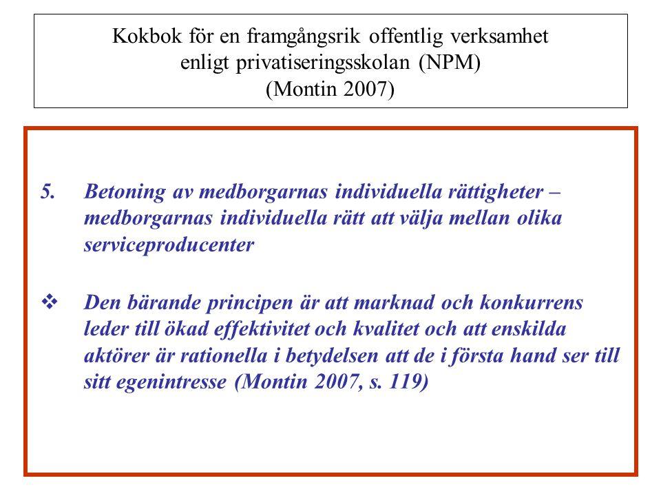 Kokbok för en framgångsrik offentlig verksamhet enligt privatiseringsskolan (NPM) (Montin 2007)