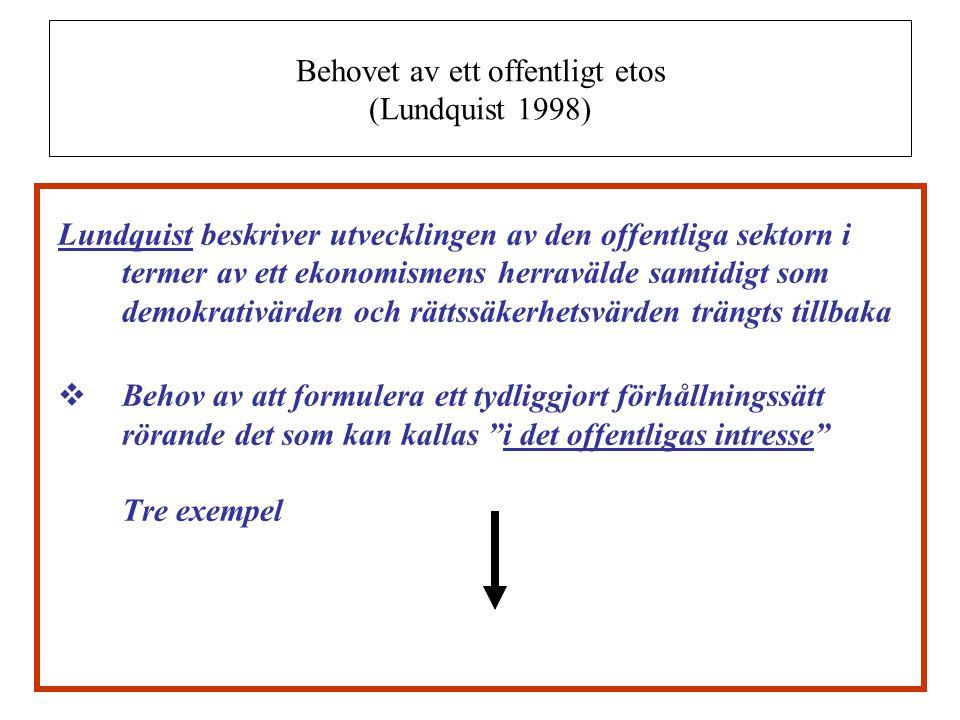 Behovet av ett offentligt etos (Lundquist 1998)