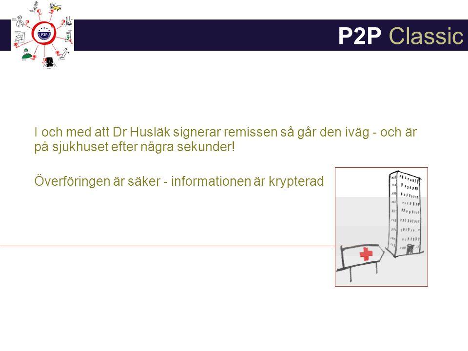 P2P Classic I och med att Dr Husläk signerar remissen så går den iväg - och är på sjukhuset efter några sekunder!