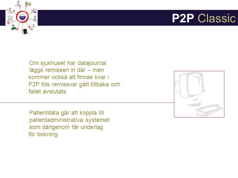 P2P Classic Om sjukhuset har datajournal läggs remissen in där – men