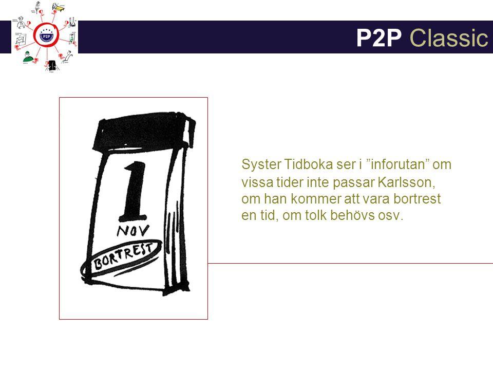 P2P Classic Syster Tidboka ser i inforutan om vissa tider inte passar Karlsson, om han kommer att vara bortrest en tid, om tolk behövs osv.