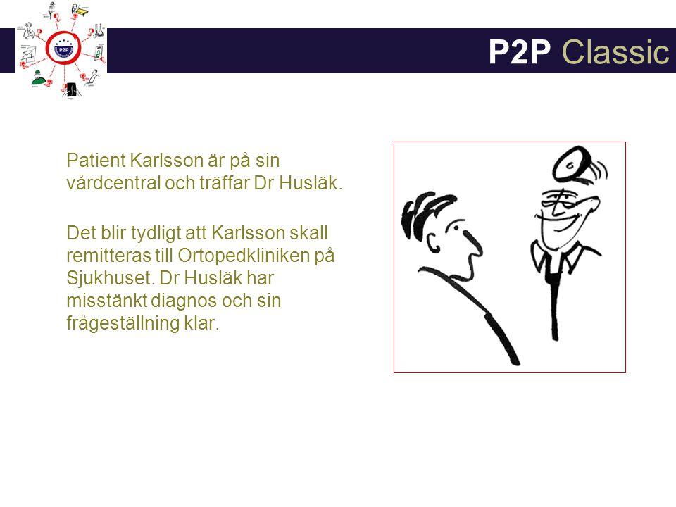 P2P Classic Patient Karlsson är på sin vårdcentral och träffar Dr Husläk.