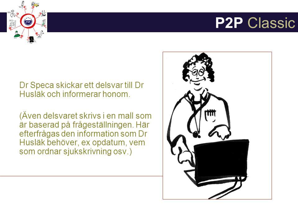 P2P Classic Dr Speca skickar ett delsvar till Dr Husläk och informerar honom.