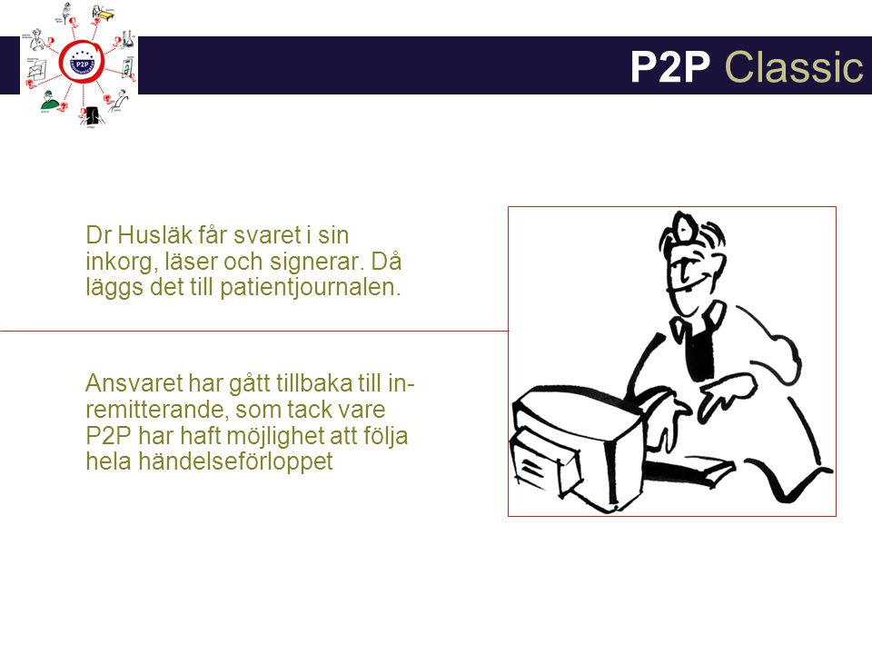 P2P Classic Dr Husläk får svaret i sin inkorg, läser och signerar. Då läggs det till patientjournalen.