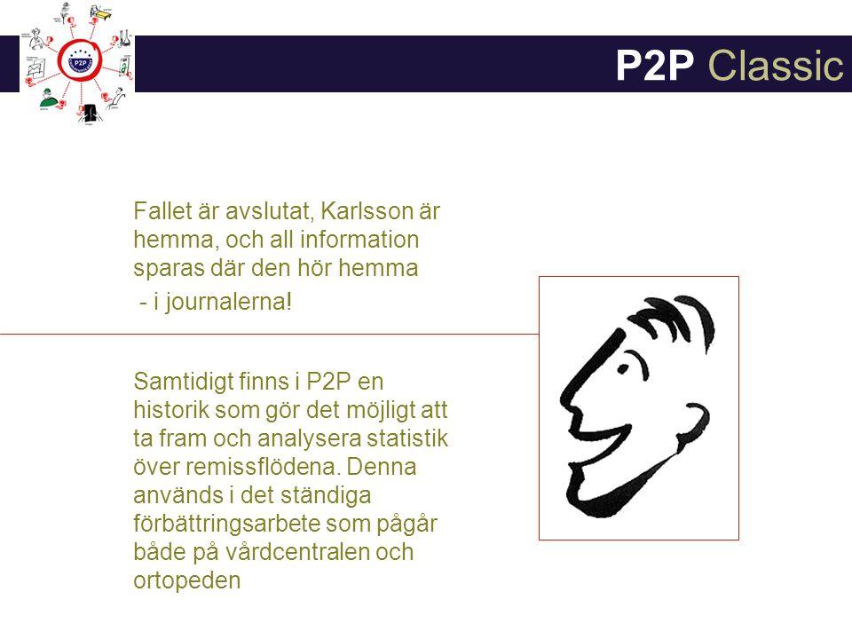 P2P Classic Fallet är avslutat, Karlsson är hemma, och all information sparas där den hör hemma. - i journalerna!