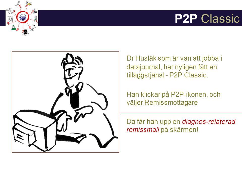 P2P Classic Dr Husläk som är van att jobba i datajournal, har nyligen fått en tilläggstjänst - P2P Classic.