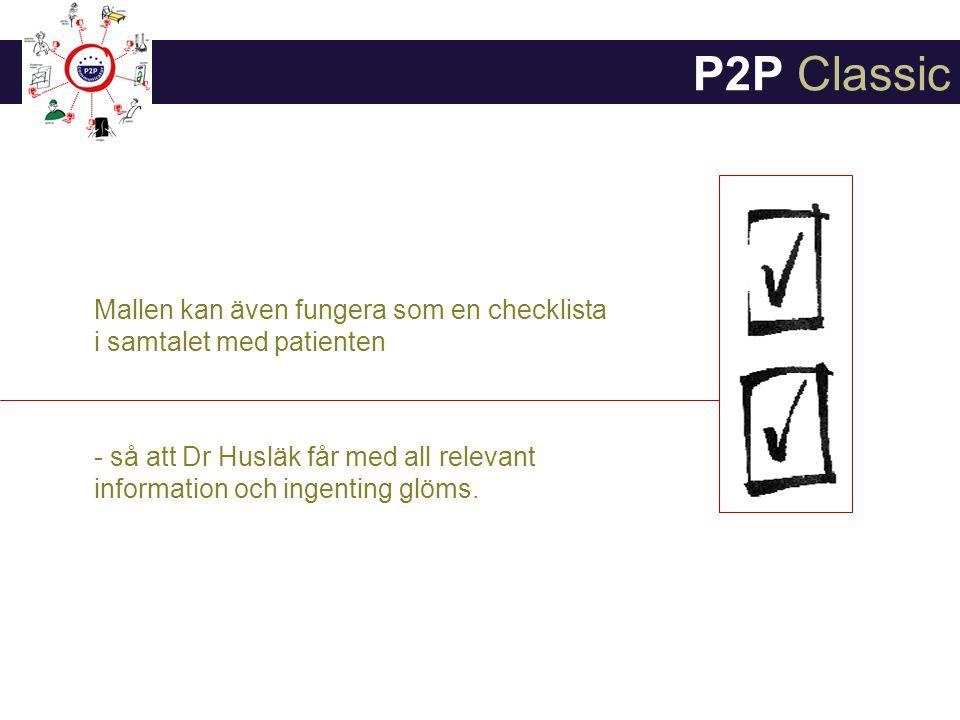 P2P Classic Mallen kan även fungera som en checklista i samtalet med patienten.