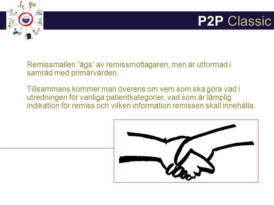 P2P Classic Remissmallen ägs av remissmottagaren, men är utformad i samråd med primärvården.
