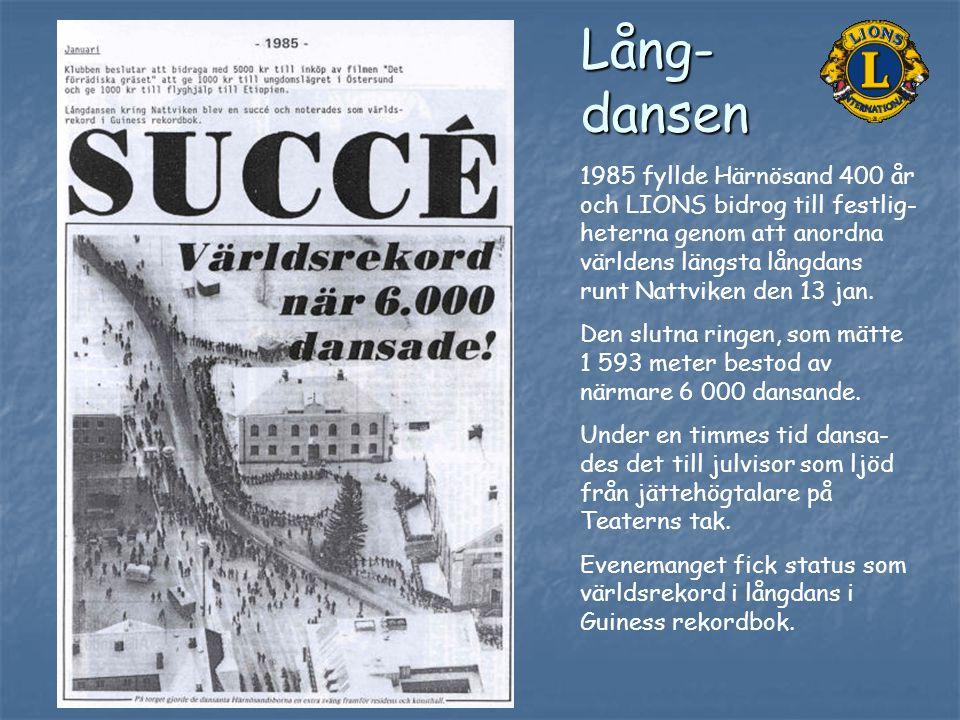Lång-dansen 1985 fyllde Härnösand 400 år och LIONS bidrog till festlig-heterna genom att anordna världens längsta långdans runt Nattviken den 13 jan.