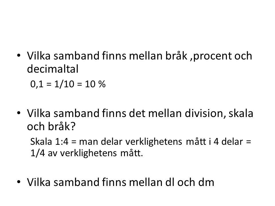 Vilka samband finns mellan bråk ,procent och decimaltal