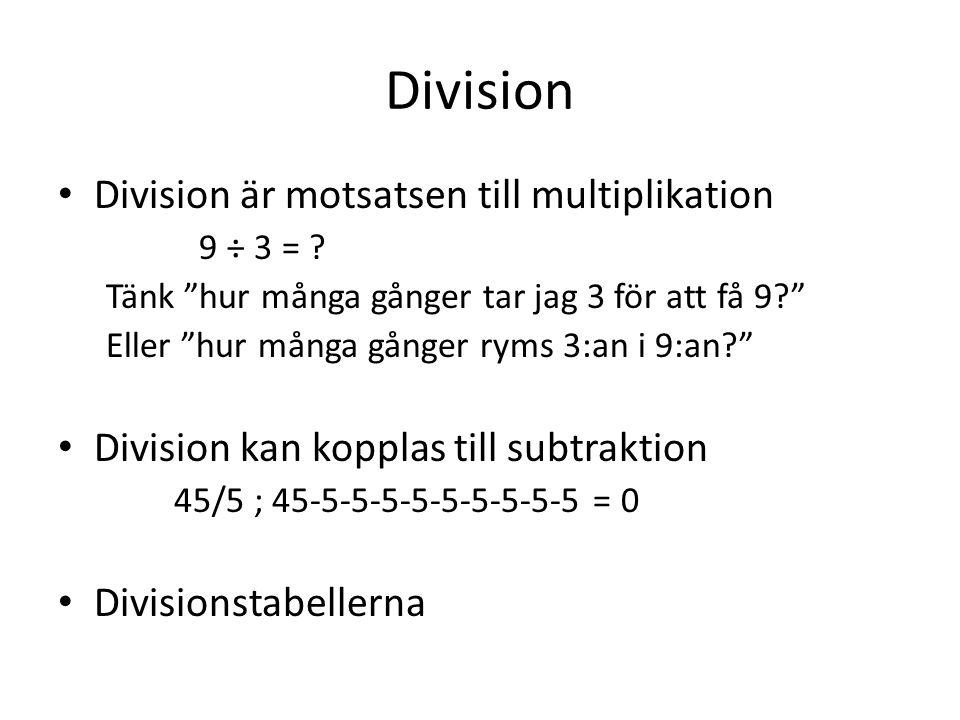 Division Division är motsatsen till multiplikation
