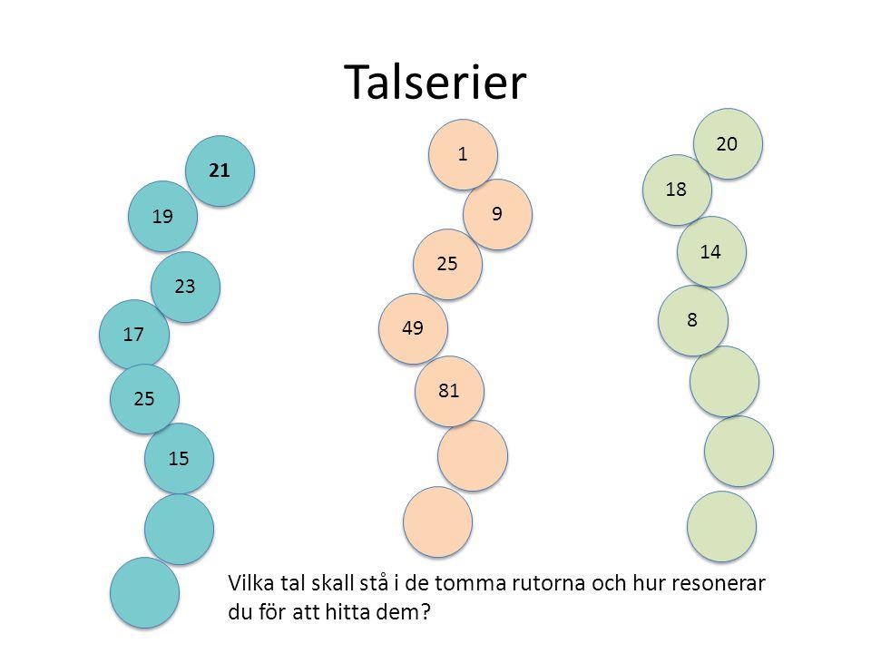 Talserier 20. 1. 21. 18. 19. 9. 14. 25. 23. 8. 49. 17. 81. 25. 15.