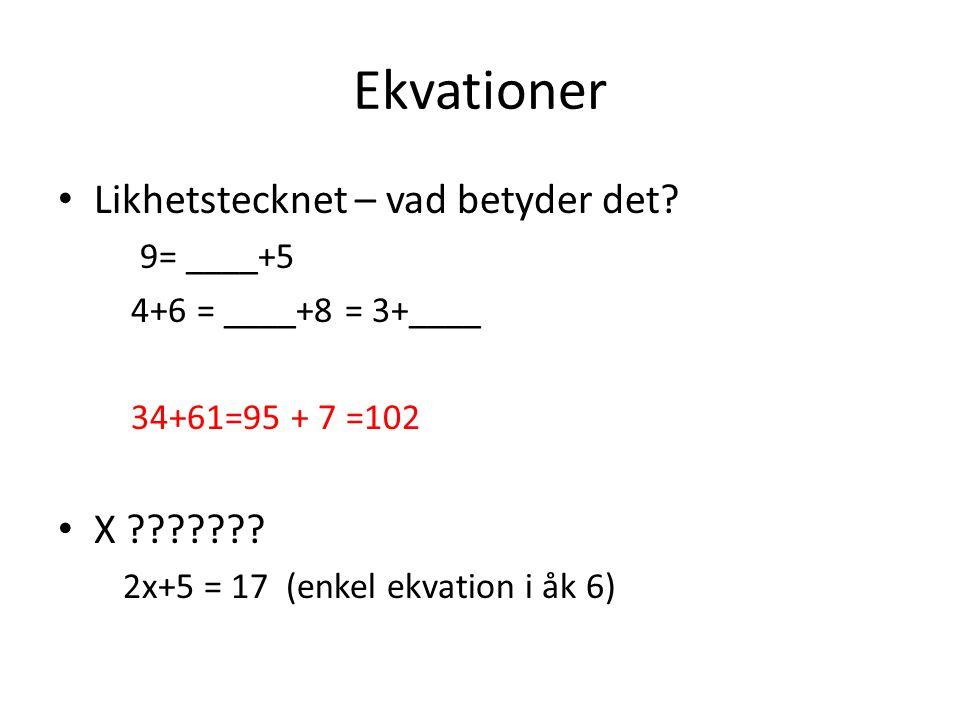 Ekvationer Likhetstecknet – vad betyder det X 9= ____+5